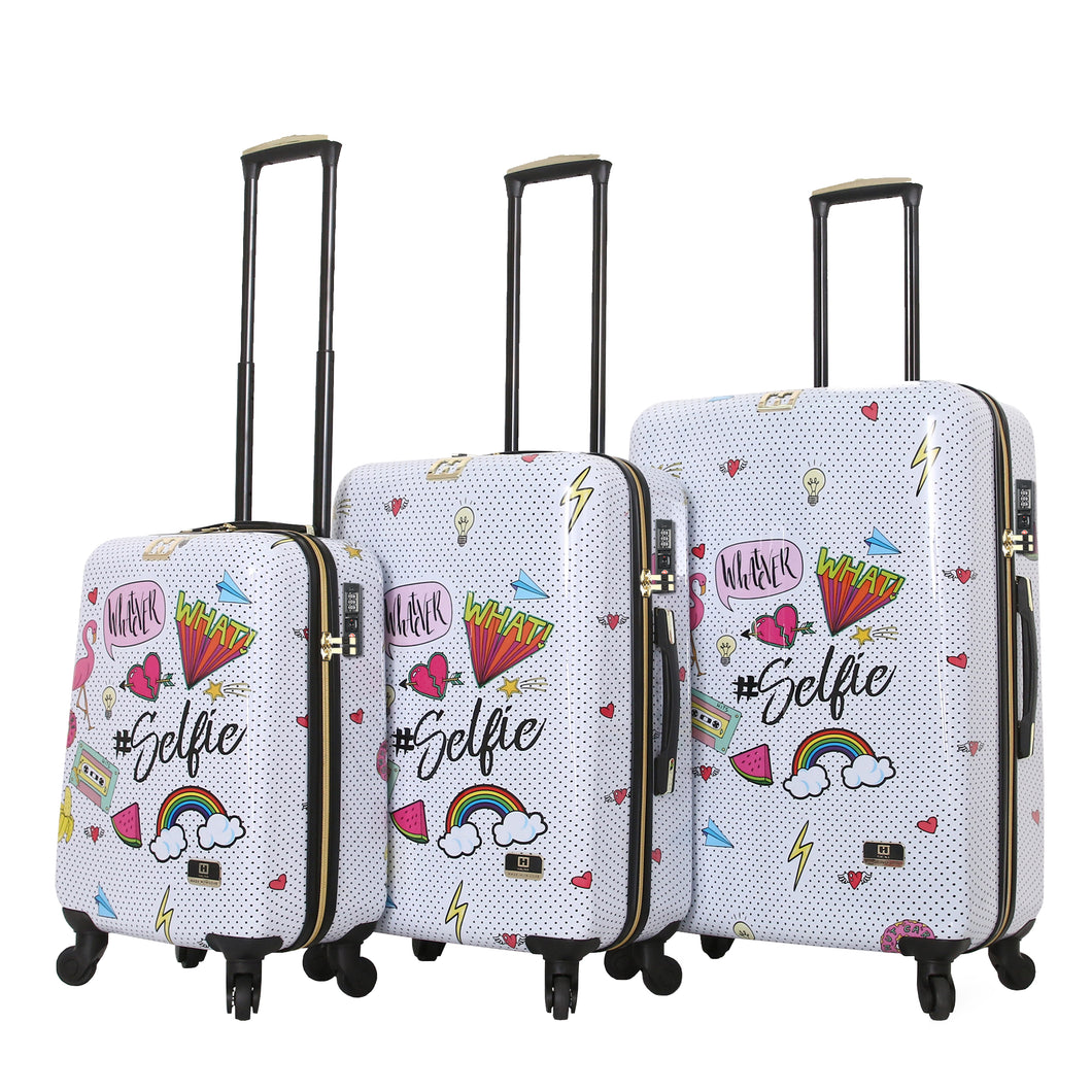 Halina Nikki Chu WHATEVER 3 Piece Cute Luggage Set (Lock Version)-HALINA - Made with Love