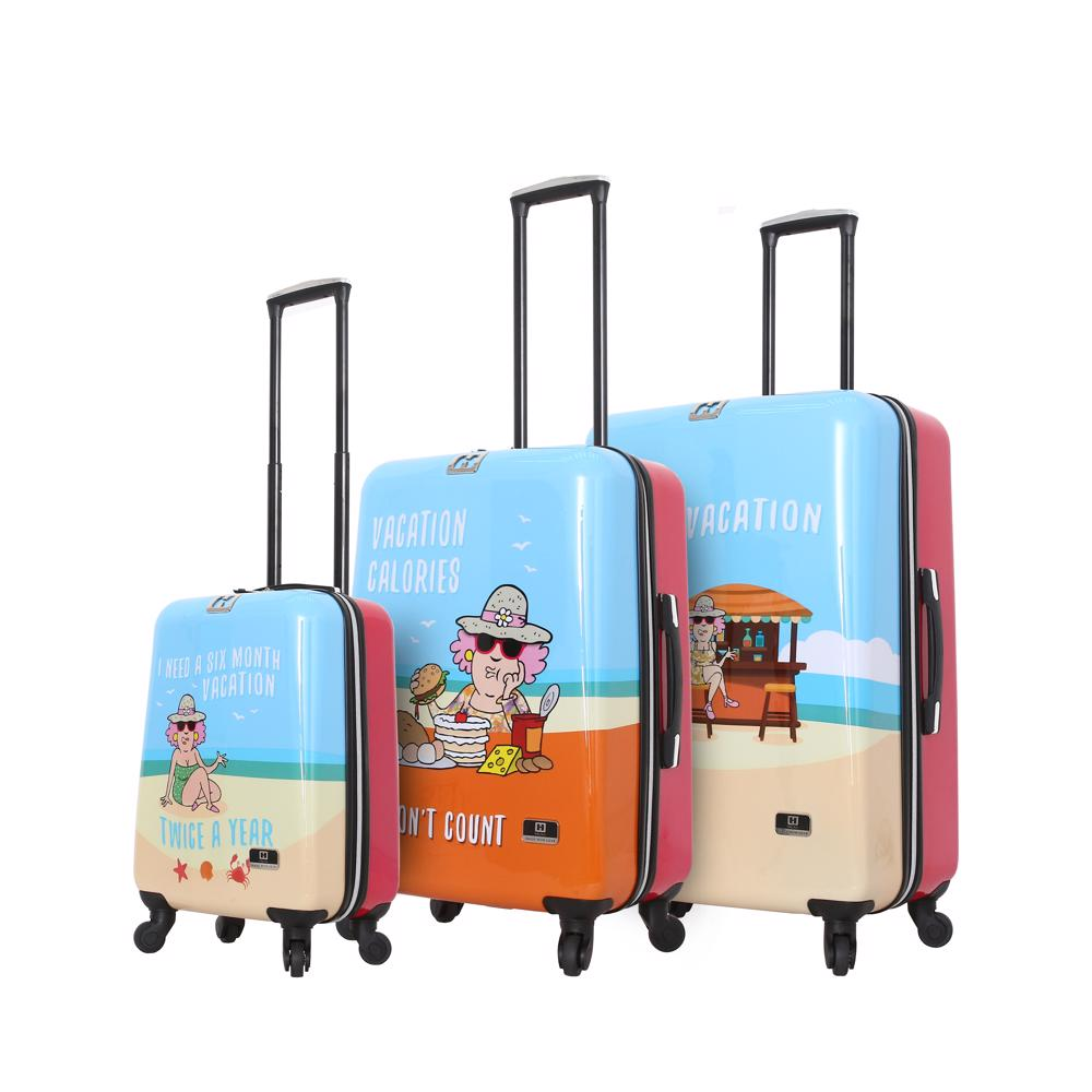 Halina Aunty Acid Beach Vacation Cartoon Graphic Luggage 3 Piece Set-HALINA - Made with Love