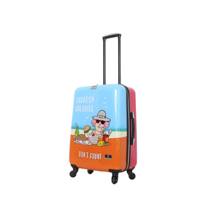 Halina Aunty Acid Beach Vacation Cartoon Graphic Luggage 24 Inches-HALINA - Made with Love