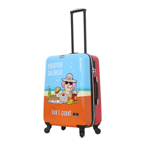 Halina Aunty Acid Beach Vacation Cartoon Graphic Luggage 24 Inches (Lock Version)-HALINA - Made with Love