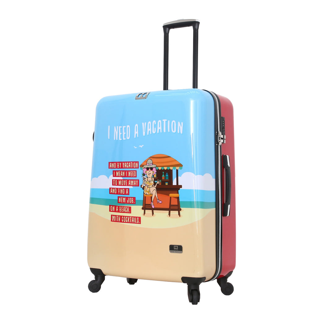 Halina Aunty Acid Beach Vacation Cartoon Graphic Luggage 28 Inches (Lock Version)-HALINA - Made with Love