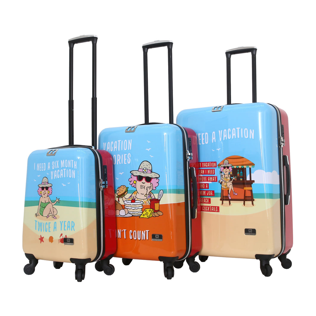 Halina Aunty Acid Beach Vacation Cartoon Graphic Luggage 3 Piece Set (Lock Version)-HALINA - Made with Love