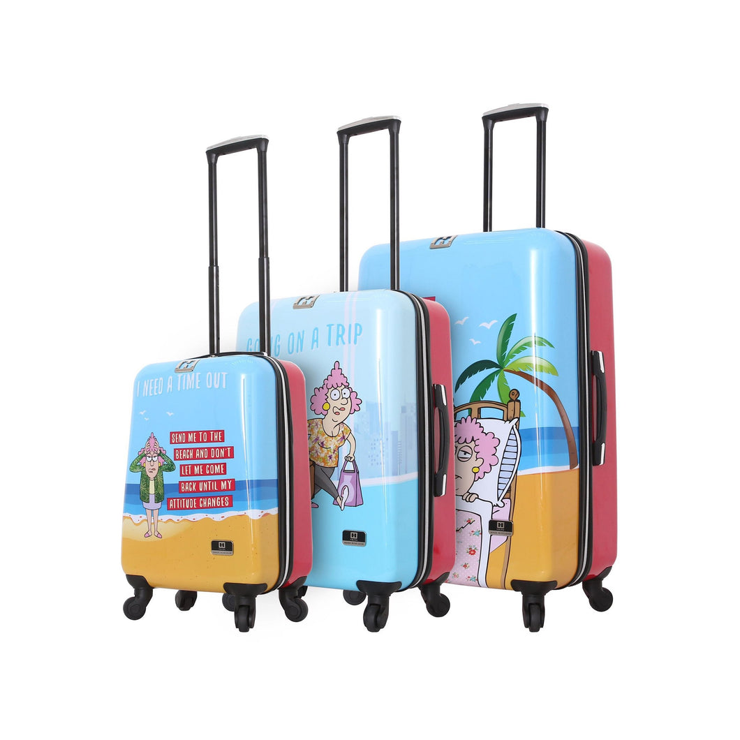 Halina Aunty Acid Trip Graphic Cartoon 3 Piece Luggage Set-HALINA - Made with Love