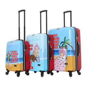 Halina Aunty Acid Trip Graphic Cartoon 3 Piece Luggage Set (Lock Version)-HALINA - Made with Love