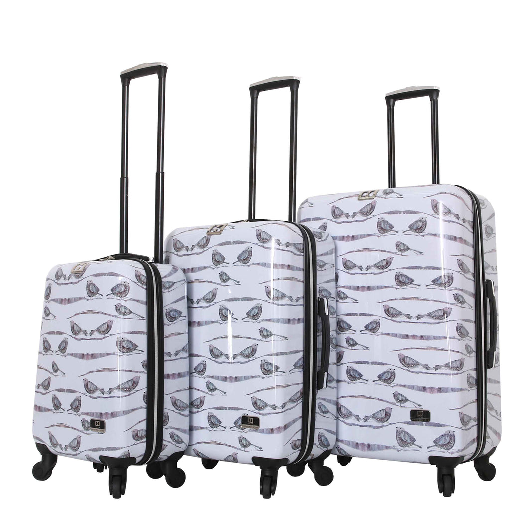 Halina Valerie Valerie AUBERGINE 3 Piece Bird Luggage Set-HALINA - Made with Love