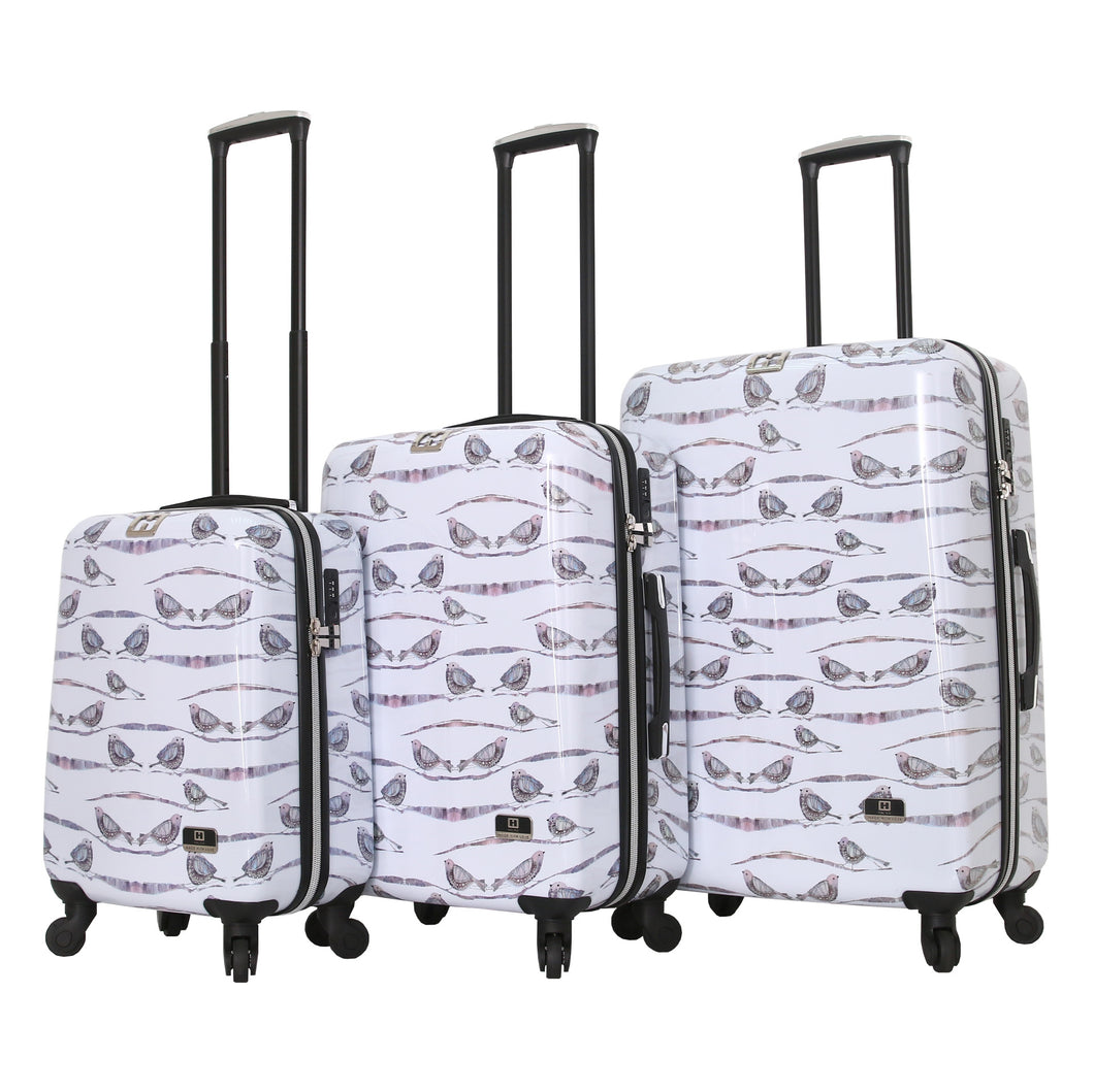 Halina Valerie Valerie AUBERGINE 3 Piece Bird Luggage Set (Lock Version)-HALINA - Made with Love