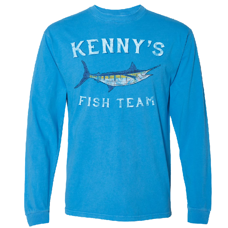 Kenny's Fish Team Long Sleeve Ocean Blue Tee