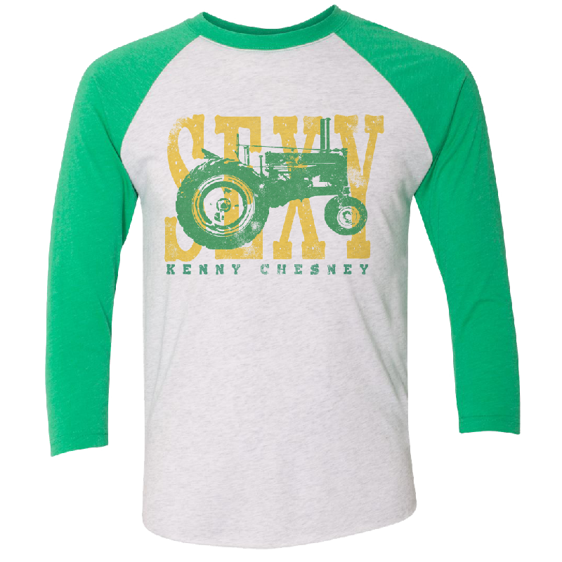 Heather White and Green Raglan Tractor Tee