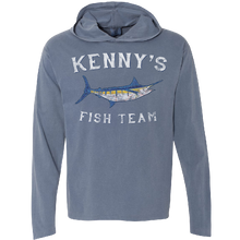 Load image into Gallery viewer, Kenny's Fish Team Long Sleeve Hooded Blue Jean Tee