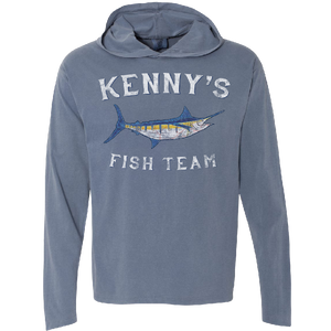 Kenny's Fish Team Long Sleeve Hooded Blue Jean Tee