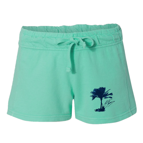 Palm Tree French Terry Chalky Mint Shorts