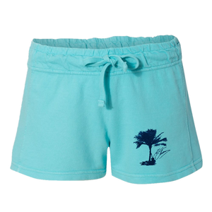 Palm Tree French Terry  Lagoon Blue Shorts