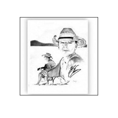 KENNY CHESNEY TIM HOLT PRINT- BLACK AND WHITE