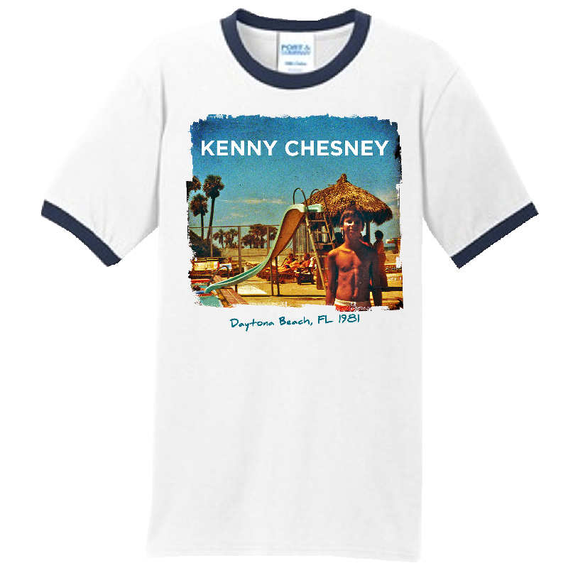 KENNY CHESNEY WHITE AND NAVY RINGER TEE
