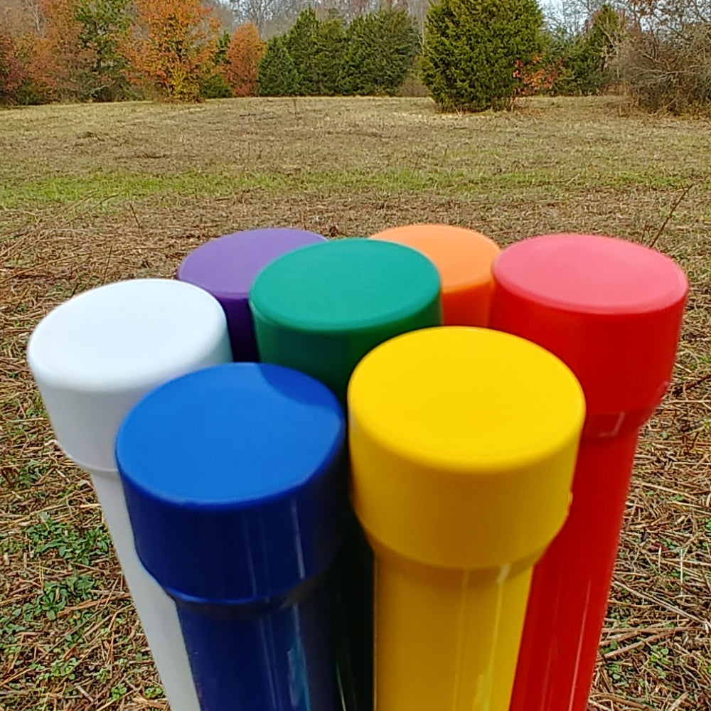 Colored weave poles, matching caps (12)