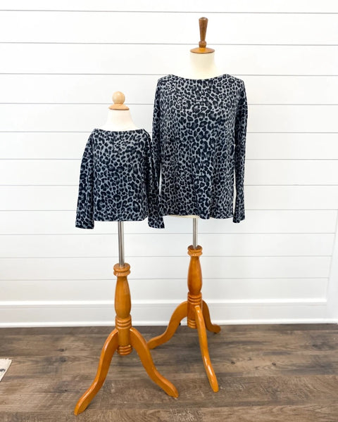 Gray Leopard Long Sleeve Top
