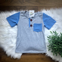Blue & Grey Henley Shirt