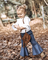 Dark Denim Pleated Bell Bottoms