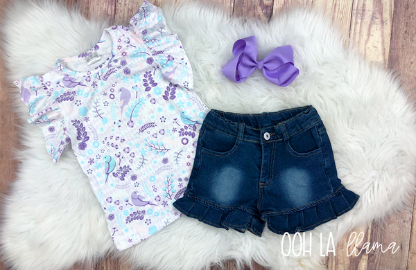 Purple Bird Short Set
