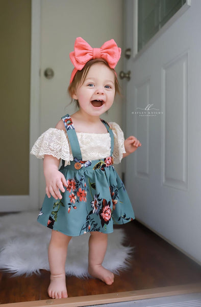 Sea Moss Floral Suspender Dress