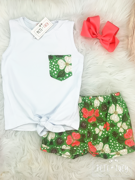 Green Hawaiian Short Set