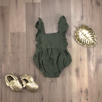 Olive Bubble Romper