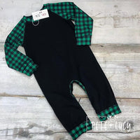 Green Buffalo Plaid Boys Romper