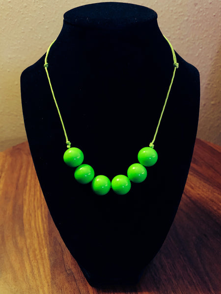 Lime Green 6 bead necklace