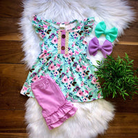 Mint Floral Short Set