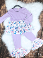 Lavender Ruffle Pants Set