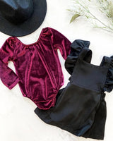 Cranberry Long Sleeve Velvet Leotard