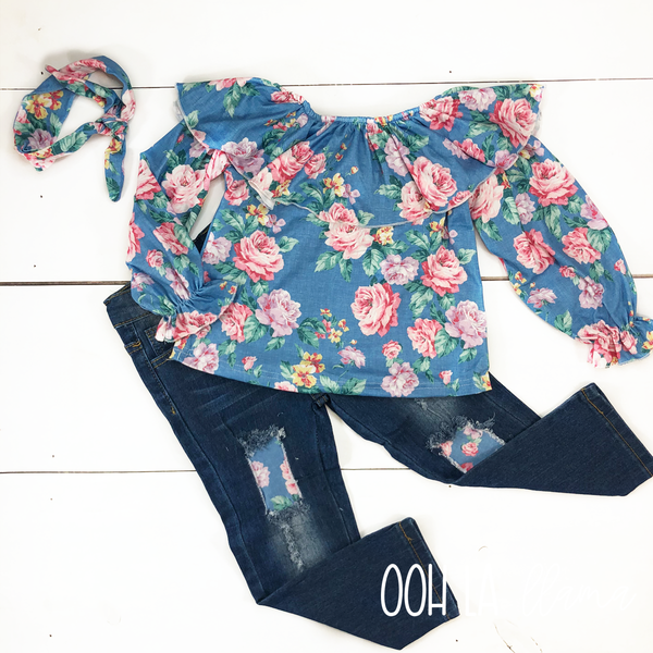 Blue Floral Denim Pants Set