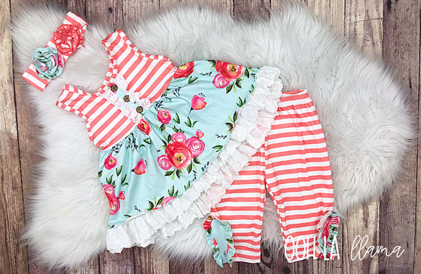 Coral Stripe Short Set