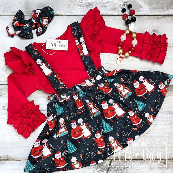 Mr. & Mrs. Claus Suspender Dress Set