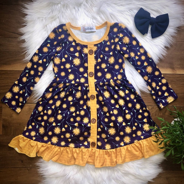Navy Blossoms Dress