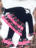 Navy & Pink Ruffle Pants Set