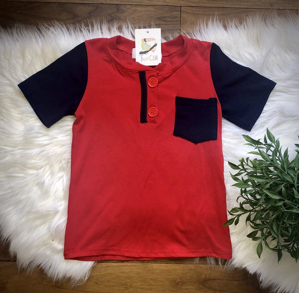 Red & Navy Henley Shirt