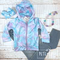 Lavender Cotton Candy Zipper Jacket