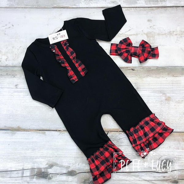 Red Buffalo Plaid Girls Romper