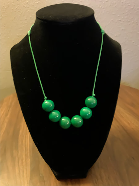 Forest Green 6 bead necklace