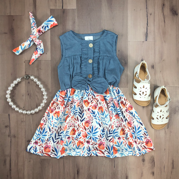 Denim Floral Tank Dress