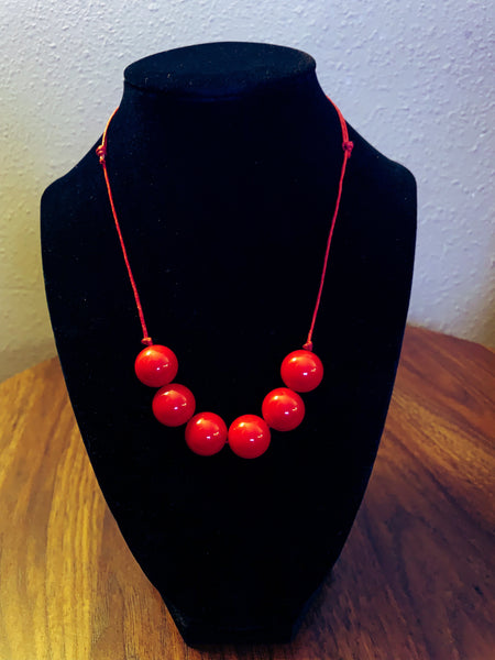 Red 6 bead necklace