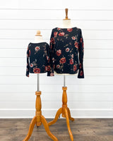 Black Wild Blossom Long Sleeve Top