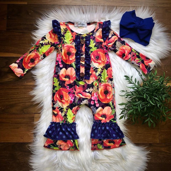Polka Dot Poppy Infant Romper
