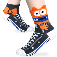 KONY Women's Girls Casual Funny Novelty Crew Socks, Cute Animals Printed Pattern - Gift For Pet Animal Lovers (Sneaker - 5 pairs)