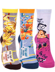 Womens Funny Crew Socks 3 Pack, Cute Novelty Dress Socks (Multi-color-1 (Shoe Size 5-10/ Sock Size 9-12))