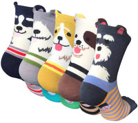 Chalier 5 Pairs Womens Cute Animal Socks Colorful Funny Casual Cotton Crew Socks, Color/Style 1, One Size