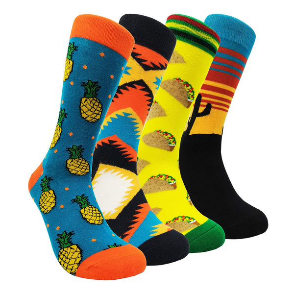 Mens Colorful Dress Socks Argyle – HSELL Men Multicolored Pattern Fashionable Fun Crew Socks 4 Pack (Cactus 4 Pack) …