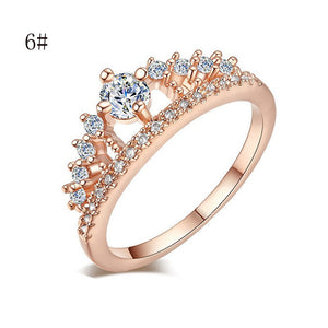 Gold Pretty Crown Lady Crystal Ring Princess Ring Perfect Present