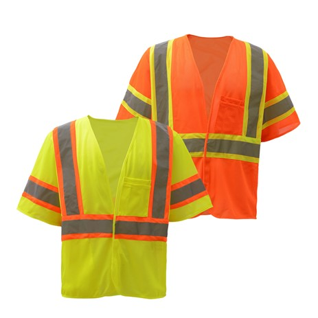 GSS SAFETY 2007/2008 STANDARD CLASS 3 TWO TONE MESH HOOK & LOOP SAFETY VEST